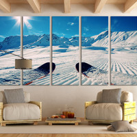 Winter Sports Ski Wall Art Mountain Wall Art / Winter Sports Photography Canvas Print Ski Poster Print for Home & Office Decoration