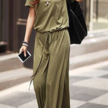 Short Sleeves Drawstring Waist Maxi Dress