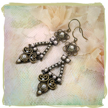 Aphrodite Micro Mosaic Pearl Chandelier Earrings - Vintage Style, Bridal Wedding, Bohemian Bride, Bridesmaid, Artisan Jewelry, Petite