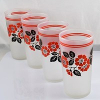 4 Hall Red Poppy Frosted Tumblers by Libbey Glass 12 Ounce , Vintage 1940s 50s Red Black Floral Design