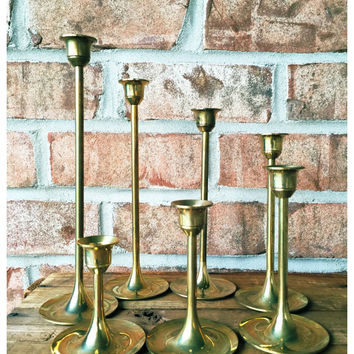 NEW/NEVER USED Vintage Graduated Brass Tulip Candlestick Holders / Set of 7