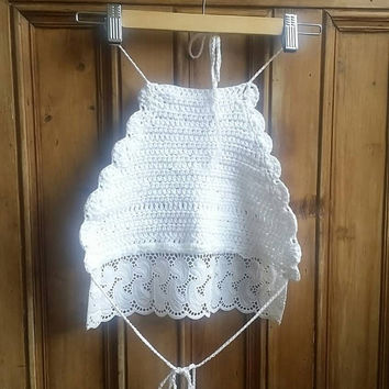 Crochet halter neck top whit lace hippie festival clothing boho sleeveless tops summer clothes beach wear backless Dolly Topsy Etsy UK