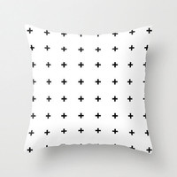 Black Cross on White Throw Pillow By Pencil Me In