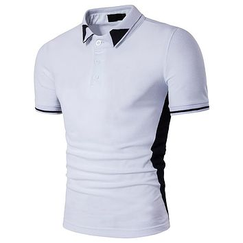 Classic white polo shirt man single breasted polo people cultivate one's morality short sleeve polo shirt