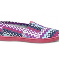 Purple Zig Zag Vegan Youth Alpargata | TOMS.com