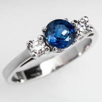Three Stone Blue Sapphire & Diamond Engagement Ring 14K White Gold