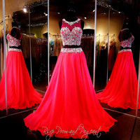 Crystal Beading Long Red Two Piece Prom Dresses 2016 Flowing Chiffon Floor Length Evening Gowns New Hot Sale vestidos de fiesta