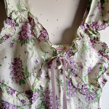 40s Bennington Floral Night Gown Vintage White Lilac Ruffle 1940s Acetate Maxi Night Gown 34 Small