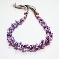 ONLY ONE LIMITED Kumihimo Beaded Bracelet Purple and White Bead Jewelry