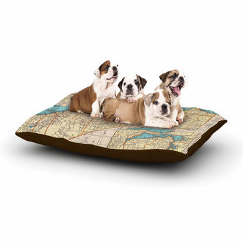 "Catherine Holcombe ""So Cal Surf Map"" Beige Blue Dog Bed"