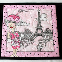 Quilted Mug Rug, Eiffel Tower, Snack Mat, Pink Black Mug Rug, Paris Holiday, Quiltsy Handmade