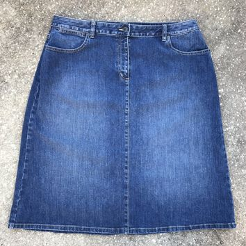TALBOTS WOMAN'S PETITES STRETCH Plus Size 18W Medium Wash Denim Jean Skirt