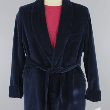 Vintage 1970s Velvet Smoking Jacket / 70s Men's Jacket / Navy Blue / Neiman Marcus / Loungewear