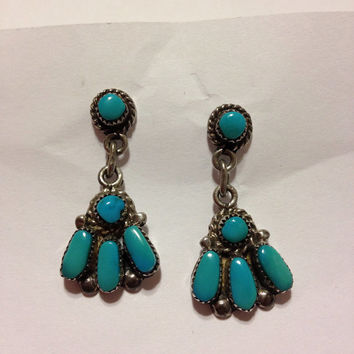 Turquoise Sterling Earrings Zuni Bill & Lou Laweeka Silver 925 Blue Petit Point Genuine Vintage Native American Tribal Southwestern Jewelry
