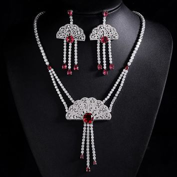 Chinese Fan Royalty Sterling Shiny Necklace Set