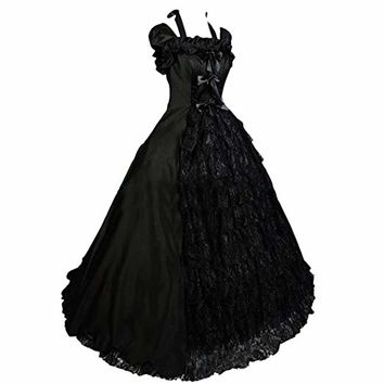 Partiss Womens Victorian Vintage Gothic Bridal Gown Party Wedding Lolita Dress