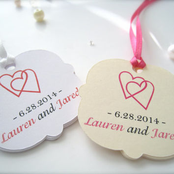 Mini personalized wedding favor tags, custom gift tags,party favor tags, thank you tags - 30 count
