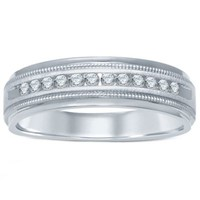 14K White Gold .25 cttw Channel-Set Diamond Men's Milgrain Wedding Band
