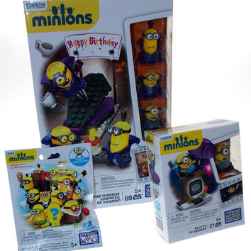 Lot of 3 Minions Vampire Surprise Silly TV Series 3 Mystery Pack Mega Bloks Toys