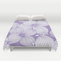 Dogwood Big Linear floral: Lilac/Lavender/Purple Duvet Cover by Eileen Paulino