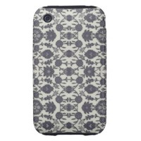 Dream Floral in Cream and Gray Tough iPhone 3 Case