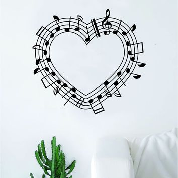 Music Notes Heart V2 Wall Decal Home Decor Sticker Vinyl Art Room Bedroom School Kids Teen Musical Instrument Piano Guitar