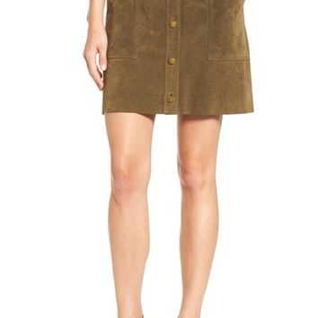 Current/Elliott 'The Leather' Button Front A-Line Skirt | Nordstrom