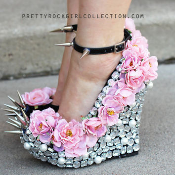 Floral Rhinestone Studded Spike Wedge Shoes SIZE 7, 8 & 9.