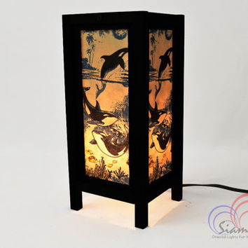 Mulberry paper Table Lamp 11 inch High Dolphin in The Sea Lantern Beside Bedroom Lamp Decoration