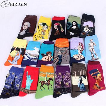 HIRIGIN 3d print art socks women men cotton harajuku style famous painting sock van Gogh Mona Lisa da Vinci funny Socks Vintage