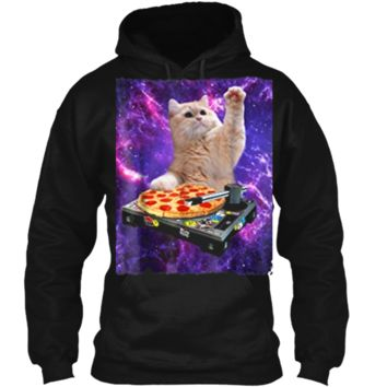 DJ Cat  Cat DJ Pizza EDM Music Cute White Kitty Tee Pullover Hoodie 8 oz