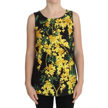 Dolce & Gabbana Multicolor Floral Crystal Top Blouse