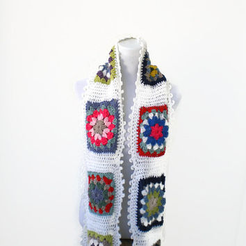 Handmade, Colorful Crochet Granny Square Scarf, Long Scarf, Granny Wrap, Wool Scarf, white - multicolor scarf