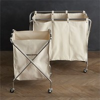 Canvas Hamper and Three-Section Sorter