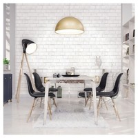 Devine Color Textured Brick Peel & Stick Wallpaper - White
