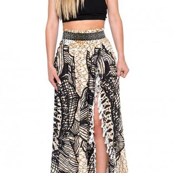 Fishnet Mandala Boho Beach Maxi Skirt