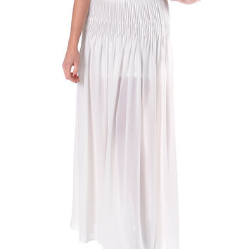 Full Of Pleats Maxi Skirt - White