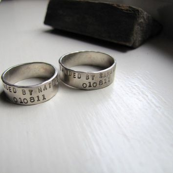 """14k White Gold """"Banded By"""" Personalized Ring"""