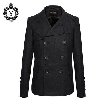 Classic Men's Wool Jacket Coat Male Winter Coats Solid Black Slim Jackets Fashion Turn-down Collar Trench Coat Men