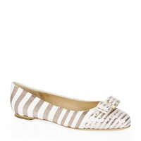 Salvatore Ferragamo Striped Varina Sequin Flat | Harrods