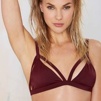 Nasty Gal Shore Enough Bikini Top - Burgundy