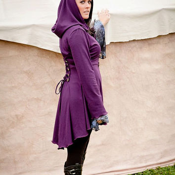 Special Listing for Allzahgoddess  Purple Fairy pixie corset laced hoodie  steampunk hoody modern red riding hood