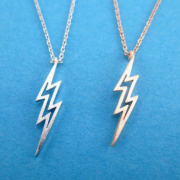 Thunder Lightning Bolts Outline Shaped Pendant Necklace in Silver or Rose Gold