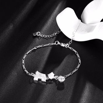 Woman Accessories Cute Lucky Dog Anklets 925 stamped silver plated Chain Ankle Bracelet White AAA Zircon Foot Jewelry Beach