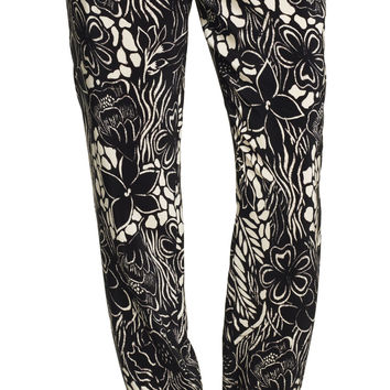 Floral Skinny Pants with Elastic Cuffs - Adrianna Papell