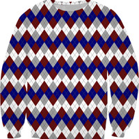 Classic sweatshirt design, retro argyle rhombus pattern, blue, gray and scarlet red