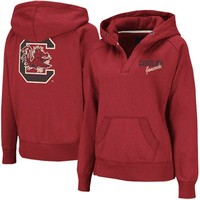 South Carolina Gamecocks Ladies Heritage V-Neck Hoodie Pullover - Garnet