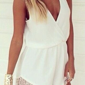 V-Neck Lace Edge Sleeveless Romper