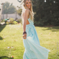 Mint Whimsy Open Back Maxi Dress