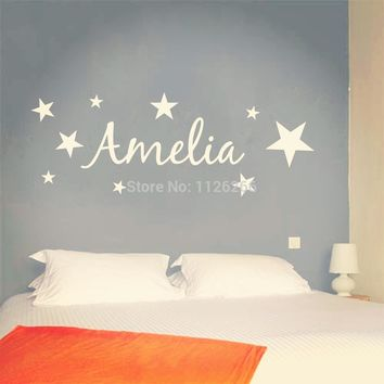 Customer-made Vinyl Wall Sticker Personalized Name with Stars Kids removable Wall Art Mural Decal Decor